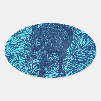 Prussian Blue Buford Oval Sticker