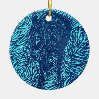 Prussian Blue Buford Round Ceramic Decoration