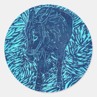 Prussian Blue Buford Round Sticker