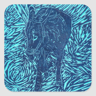 Prussian Blue Buford Square Sticker
