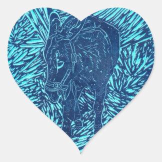 Prussian Blue Buford Heart Sticker