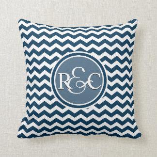 Prussian Blue Chevron Customized Initial Monogram Cushions