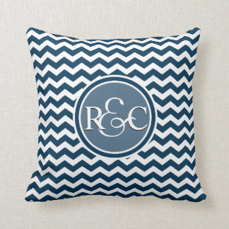 Prussian Blue Chevron Customized Initial Monogram Cushions