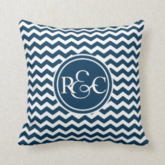 Prussian Blue Chevron Personalized Monogram Throw Cushions