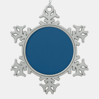 Prussian Blue colored Snowflake Pewter Christmas Ornament