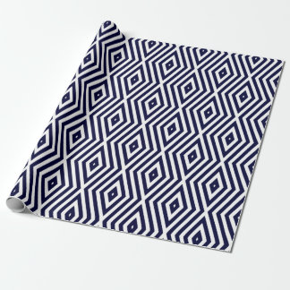 Prussian Blue Moods Diamond Chevrons Wrapping Paper