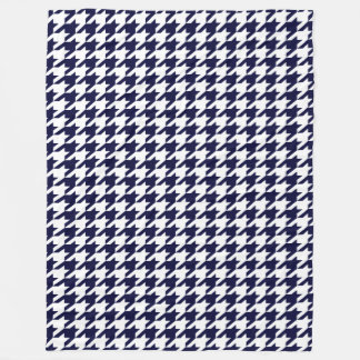 Prussian Blue Moods Houndstooth Fleece Blanket