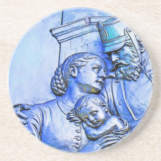 Prussian Soldier Woman and Baby Blue Tint Beverage Coaster