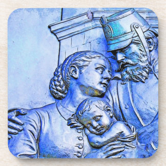 Prussian Soldier,Woman and Baby, Blue Tint Drink Coaster