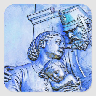 Prussian Soldier,Woman and Baby, Blue Tint Square Sticker
