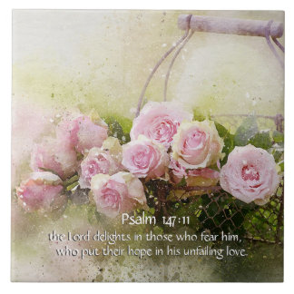 Psalm 147:11, Bible Verse, Basket of Pink Roses, Large Square Tile