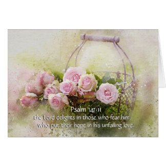 Psalm 147:11 Inspiring Bible Verse Pink Roses Card