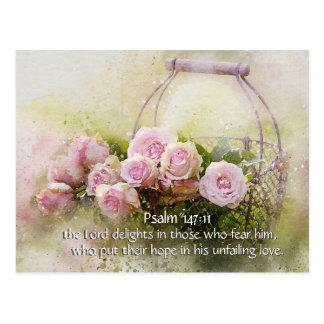 Psalm 147:11 Inspiring Bible Verse Pink Roses Postcard