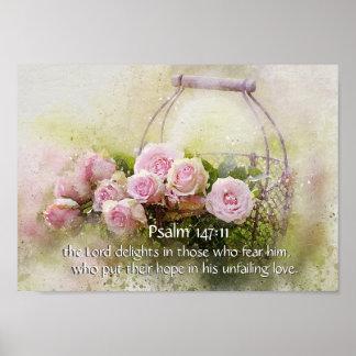 Psalm 147:11 Inspiring Bible Verse Pink Roses Poster