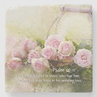Psalm 147:11 Inspiring Bible Verse Pink Roses Stone Coaster