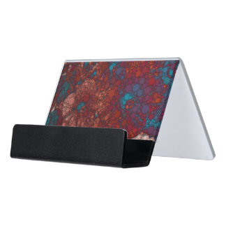 Psychedelic Abstract Flowers Desk Business Card Holder