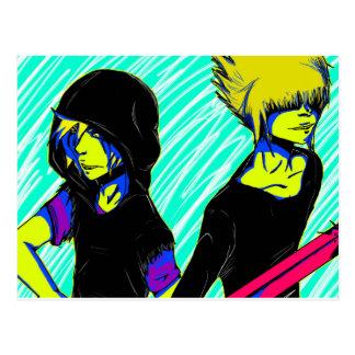 Psychedelic anime boys postcard