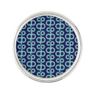 Psychedelic blue circles lapel pin