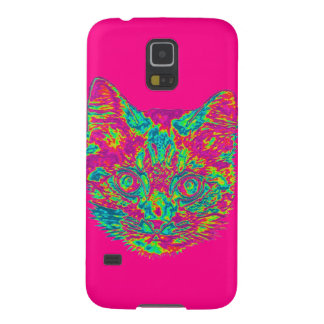 Psychedelic Cat Samsung Galaxy S5 Phone Case -Pink