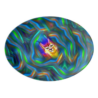 Psychedelic Colour Flow Lynx Portrait Porcelain Serving Platter