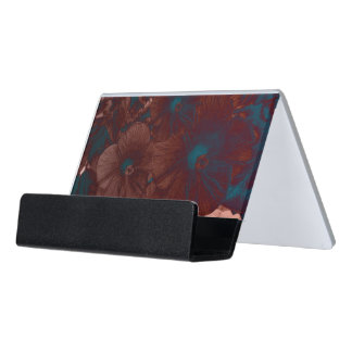 Psychedelic Floral Collage Desk Business Card Holder