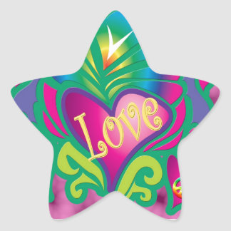 Psychedelic Floral Heart Sticker