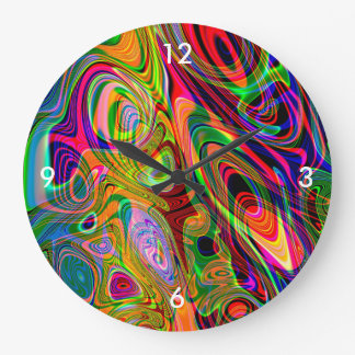 Psychedelic Florescent Abstract Twirls Wall Clock