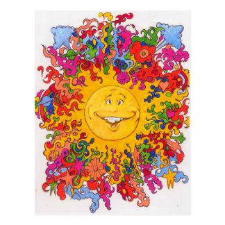 Psychedelic Happy Sun Postcard