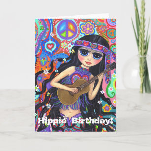 Psychedelic Hippie Mermaid Girl with Guitar Peace Card