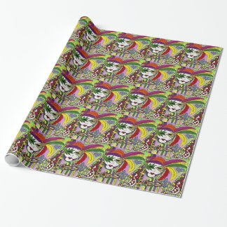 Psychedelic Mardi Gras Feather Mask Wrapping Paper