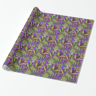 Psychedelic Mardi Gras Feather Masks Wrapping Paper