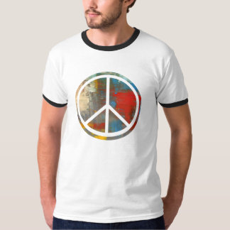 Psychedelic Peace Sign Ringer Shirt