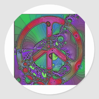 psychedelic peace sign stickers