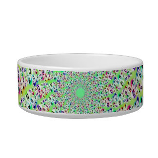 Psychedelic Rainbow Eyes Mandala Cat Bowl