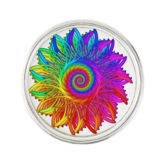 Psychedelic Rainbow Spiral Lapel Pin