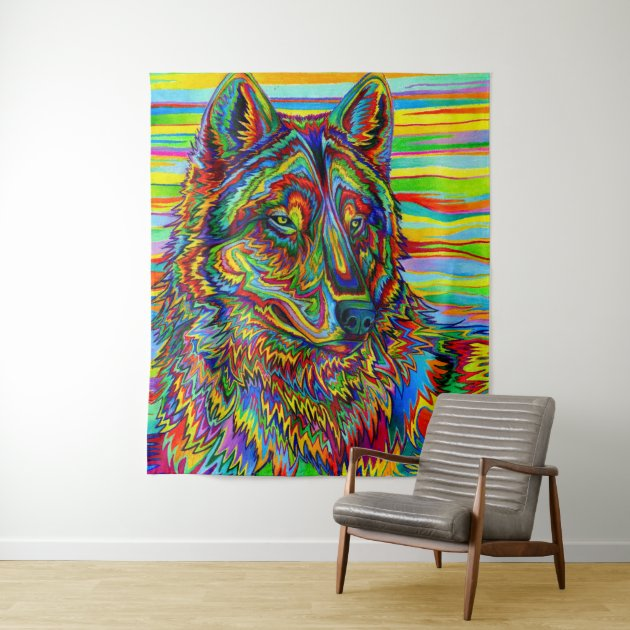 Psychedelic Rainbow Wolf Colorful Wall Tapestry Zazzle Co Nz