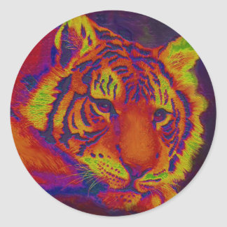 psychedelic tiger classic round sticker