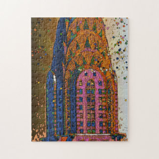 Psychedlic NYC: Chrysler Building Top Closeup #1 Jigsaw Puzzle