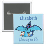 Pterodactyl Dinosaur It's a Boy Baby Shower 15 Cm Square Badge