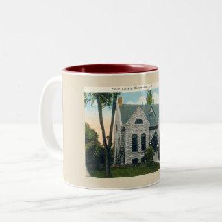 Public Library, Gouverneur New York 1920s vintage Two-Tone Coffee Mug