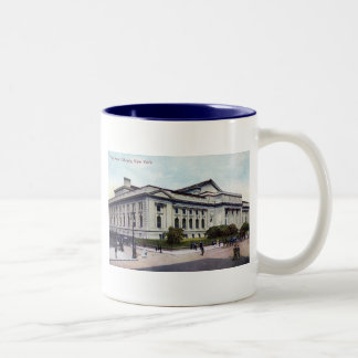 Public Library, New York City 1915 Vintage Two-Tone Coffee Mug
