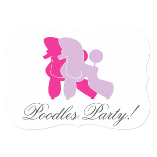 Pudel in Rosa pink Personalized Invitations