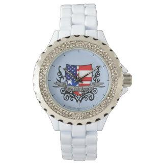 Puerto Rican-American Shield Flag Wristwatch