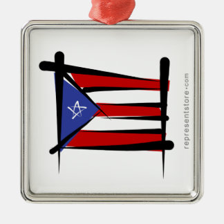 Puerto Rico Brush Flag Christmas Ornament