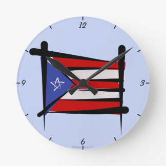 Puerto Rico Brush Flag Round Clock