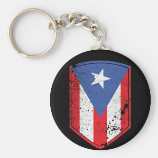 Puerto Rico Flag Basic Round Button Key Ring