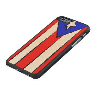 Puerto Rico Flag Carved Maple iPhone 6 Case