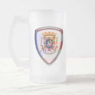 Puerto Rico - Seal on Shield Frosted Glass Beer Mug