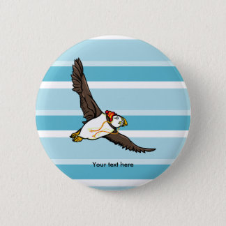 Puffin Wearing A Hat A Knitted Hat 6 Cm Round Badge