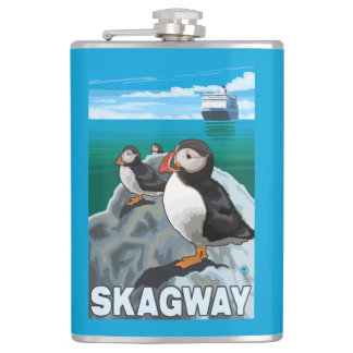 Puffins & Cruise Ship - Skagway, Alaska Hip Flask